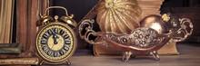 Vintage Alarm Clock Showing Five To Twelve On Wood, Text Space