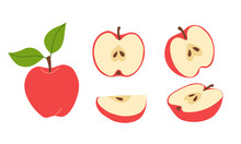 Fresh Red Juicy Apples. Whole, Halves, Parts Of The Fruit. Set Of Vector Illustrations In Flat Style Isolated On White Background