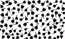 Creative Flower Pattern. Textures Made With Black And White Sketch Tulip Seamless Pattern For Background, Fabric, Wrapping Paper. Stock Template Design. Nature Flat Spring Flower Motif