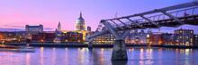 London At Sunset, Millennium Bridge Leading Towards Illuminated