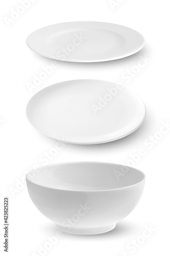 Papel de parede Vector 3d Realistic White Empty Porcelain, Ceramic Plate, Bowl Icon Set Closeup Isolated on White Background