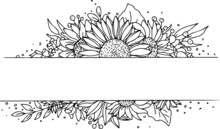 Vector Wreath Frame Sunflower.  Illustration Of Flower Wreath For Content And Graphic, Wedding, Greeting Card.