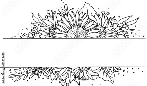 Obraz Vector wreath frame sunflower.  Illustration of flower wreath for content and graphic, wedding, greeting card. - fototapety do salonu
