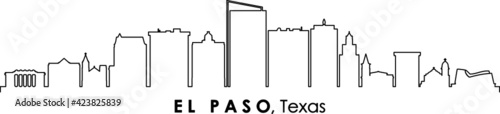 Fototapeta EL PASO Texas USA City Skyline Vector  obraz