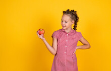 Spring In My Head. Happy Girl Holding Apples From Garden. Kid Hold Fresh Fruit. Child Eating Red Apple. Summer Healthy Food. Vegetarian Dieting. Fruits At Fall Harvest. Healthy Nutrition In Autumn