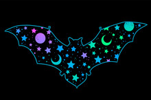 Bat Silhouette With Bright Space Pattern