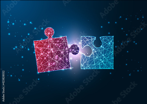 Obraz Futuristic glowing wireframe design red and blue jigsaw puzzle pieces fitting each other. - fototapety do salonu