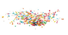 Pile Colorful Candy Sprinkles Isolated On White Background, Side View