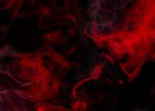 Grunge Dark Horror Black Background With Bright Red Mist, Smoke Halloween Goth Design