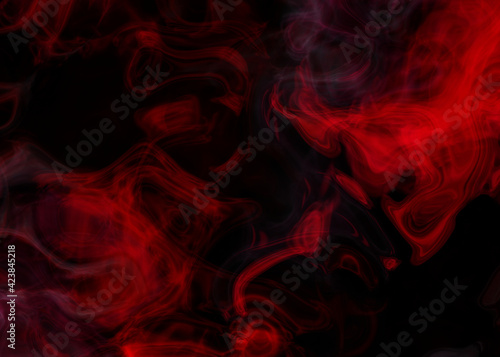 Photo Grunge dark horror black background with bright red mist, smoke Halloween goth d