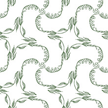 Seamless Pattern Of Drawn Flexible Stems Of Lilies Of The Valley