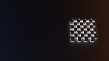 3d Rendering Of White Light Stripe Symbol Of Chess Board On Dark Background