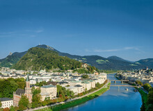 Old Town Of Salzburg Flanked By Kapuzinerberg Hill. Capital City Of State Of Salzburg In Austria, Europe. Historic Centre, Salzach River And Alpine Surroundings. Birthplace Of Wolfgang Amadeus Mozart.