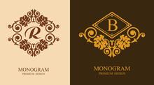 Luxury Monogram R And B Design Elements. Luxury Elegant Frame Ornament Line Logo Design Vector Illustration. Good For Royal Sign, Restaurant, Boutique, Cafe, Hotel, Heraldic, Jewelry, Fashion