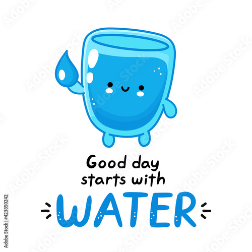 Fototapeta Cute funny happy water glass character hold aqua drop. Vector flat line cartoon kawaii character illustration icon. Isolated on white background. Good day starts with water card,poster concept obraz na płótnie