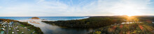 Coastal Sunset Over Holiday Caravan Park And Seaside View Of Beach And River Mouth - Crampton Island