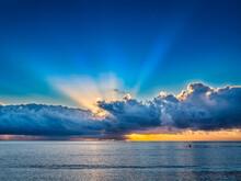 Dramatic Sunset Sky Over Sea