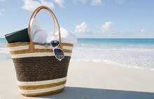 USA, USA Virgin Islands, St. John, Vacation Bag On Beach