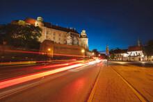 Poland, Lesser Poland, Krakow, Light Trails Next To Wawel Castle