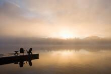 USA, New York State, Adirondack State Park, Morning Mist On Lake In Adirondack Mountains