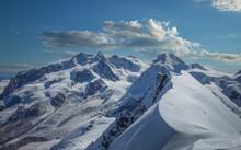 France, Haute Savoie, Chamonix, Mont Blanc, Rochefort Ridge, Snow Covered Mountains In Winter