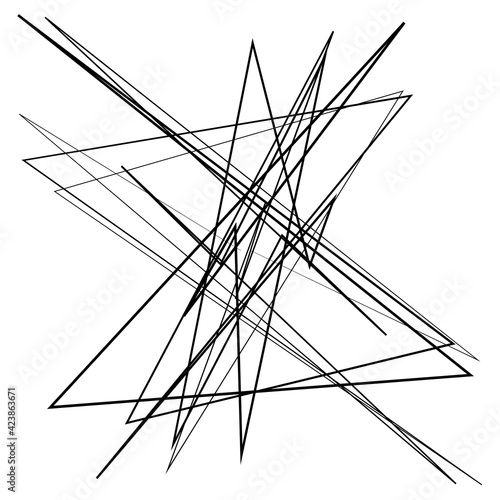 Abstract edgy, geometric line art. Angular random, chaotic lines. Spiky. tapered chaotic art Wall mural