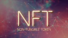 Message NFT - NON FUNGIBLE TOKEN In Neon Letters On An Abstract Background