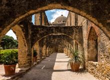 Arch Walk Way At The San Jose Mission In San Antonio, TX USA.