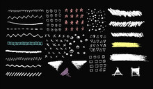 Set Of 27 Isolated Hand Drawn Vector Elements. Chalk Or Pencil Strokes. Resizable. Stars Hearts Scribbles Lines Triangles Squares Squiggles Circles