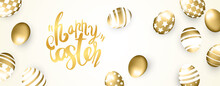 Happy Easter Banner With Golden Eggs On Background