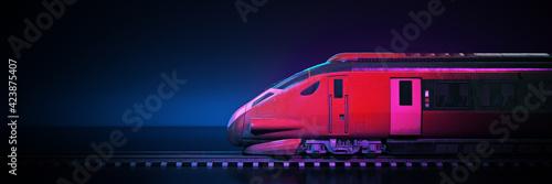 Obraz na płótnie Train with dark background. 3d rendering