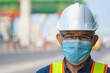 Close up Asian man engineer wear medical mask working in site construction, Old man concept retirement age
