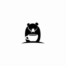 Bear And Coffee Icon Logo In Negative Space Vector Illustration