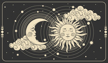 Sun And A Crescent Moon With A Face On A Black Cosmic Background. Tarot Card, Concept Of Mythology, Witchcraft, Mysticism. Boho Banner With Gold Symbols Of Alchemy. Vector Illustration.