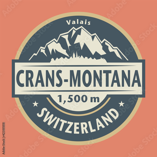 Fototapeta Abstract stamp or emblem with the name of Crans-Montana, Switzerland