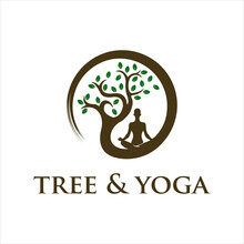 Tree Yoga Logo. Silhouette Of A Person In Meditation In A Round Frame. The Image Of Nature, The Tree Of Life. Design Of The Emblem Of The Trunk, Leaves, Crown And Roots Of The Tree.