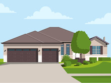 Flat Detailed Colorful Cottage Houses. Flat Style Modern Buildings. Vector Illustration