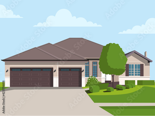Flat detailed colorful cottage houses Fototapete
