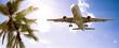 canvas print picture - Flugzeug - Urlaub - Palmen
