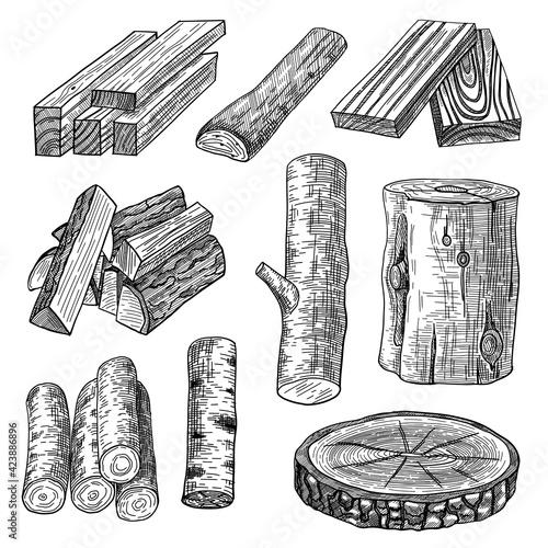 Slika na platnu Cut logs, firewood and planks engraved vector illustrations set