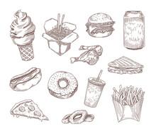 Set Of Popular American Dishes Hand Drawn Vector Illustration. Engraved Vintage Fast Or Street Food Sketches Such As Sandwich, Hotdog, Burger, Soda, Donut On Chalkboard. Food, Menu, Cuisine, Concept