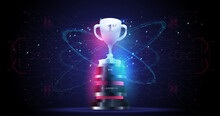 Champions Award On Futuristic Background. Esports Victory Concept. Abstract Design Winner Cup Template With Futuristic Elements. Trophy Cup. Abstract Vector 3d Trophy.