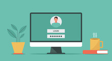 Computer Account Login And Password Of The User To The System With Authorization On The Screen, Vector Flat Design Illustration