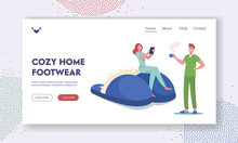 Cozy Home Footwear Landing Page Template. Family Couple At Morning In Comfy Clothing. Characters Wearing Home Clothes