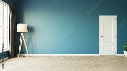 Fototapeta Modern style empty blue room with woode floor window sun light effect with tall lamp next to a dark luxurious curtain on the left and white door on the right. 3d illustration. obraz