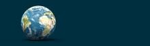 Bannière Avec Planète Terre Sur Fond Foncé