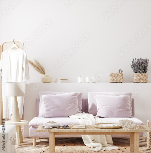 Fototapeta Home mock up with purple sofa and flowers, fresh spring living room interior, 3d render obraz