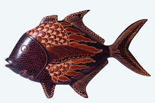 Yogyakarta, Indonesia, June 27, 2011. The Application Of Batik To Fish Sculptures Made Of Wood Is Used To Decorate Room Interior