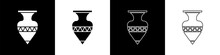 Set Ancient Amphorae Icon Isolated On Black And White Background. Vector