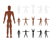 Wooden Man Mannequin Collection Isolated On White Background. Wood Dummy With Different Poses. Cartoon Flat Toy. Vector Illustration